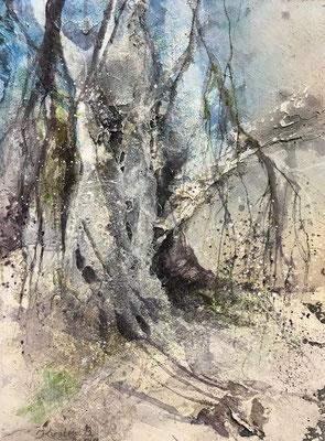 Novemberbäume I, Mischtechnik auf Leinwand, 30 x 40 cm, 2018, Preis auf Anfrage