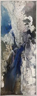 Aquarell trifft Sumpfkalk Blau 1, Sumpfkalkmischtechnik auf Hadernbütten, 19 x 50 cm, 2020