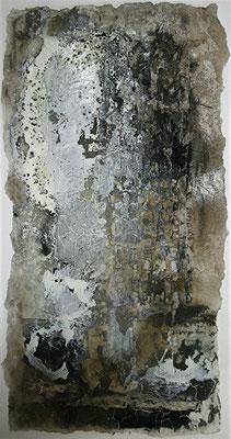 Zerreißprobe II, Marmormehl, handgeschöpftes Papier, Papierausrisse auf Papier, 30 x 60 cm, 2013, Preis auf Anfrage