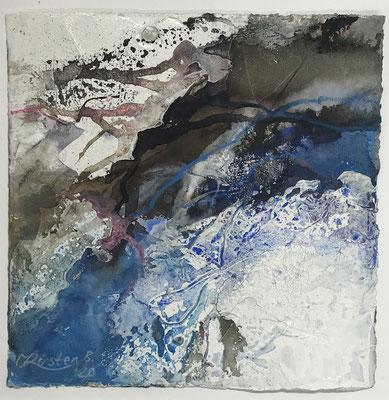 Aquarell trifft Sumpfkalk Blau 4, Sumpfkalkmischtechnik auf Hadernbütten, 22 x 22 cm, 2020