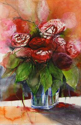 Rote Rosen in Glasvase, Aquarell auf Hadernbütten, 38 x 56 cm, 2017,  verkauft!