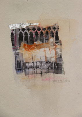 Venezia 3, Collage auf handgeschöpftem Hadernbütten, Aquarell, 21 x 30 cm, 2017, Preis auf Anfrage