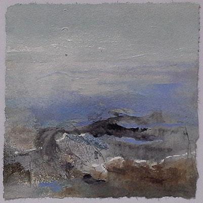 Kleine Irlandlandschaft III Acrylmischtechnik auf Papier, 22 x 22 cm, 2014, Preis auf Anfrage