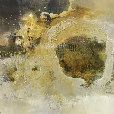 Damit´s rund läuft, Acrylmischtechnik (Collage, Bitumen, Asche, Acryl, Tusche, Wachs) auf Leinwand, 100 x 100 cm, 2018, Preis auf Anfrage