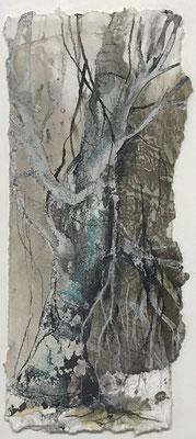 Baumwelten I, Acrylmischtechnik auf Eco-Printing, Aquarellkarton, ca. 6 x 20 cm, 2018, Preis auf Anfrage
