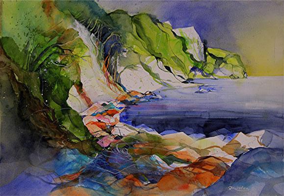 Kreideküste mit Königstuhl, Rügen, Aquarell auf Hadernbütten, 77 x 53,5 cm, 2014, Preis auf Anfrage