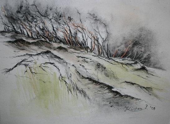 In den Dünen von Skagen, Kohle aquarelliert, 2009