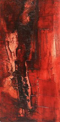 Struktur in Rot I, Marmormehl, Öl auf Leinwand, 40 x 80 cm, 2013, unverkäuflich