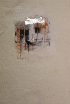 Venezia 1, Collage auf handgeschöpftem Hadernbütten, Aquarell, 21 x 30 cm, 2017, Preis auf Anfrage