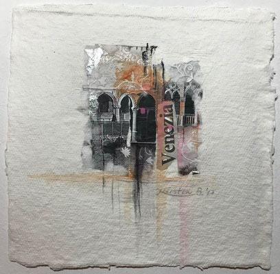 Venezia 7, Collage auf handgeschöpftem Hadernbütten, Aquarell, 22 x 22 cm, 2017, Preis auf Anfrage