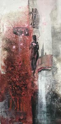 Venezia rot II, Sumpfkalkmischtechnik, Collage auf Leinwand, 40 x 80 cm, 2019, Preis auf Anfrage