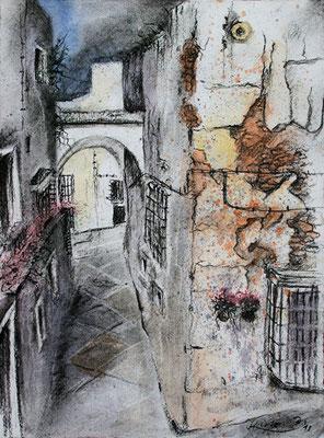 Arcos de la Frontera, Andalusien, Kohle aquarelliert, 2011