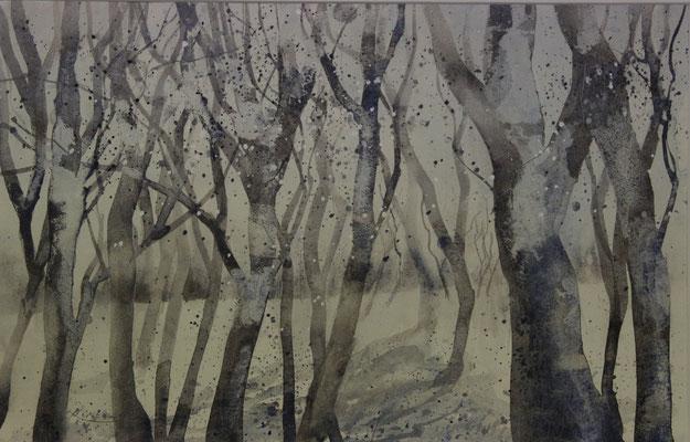 Winterwald 3, Aquarell auf Ingres-Echt-Bütten, 48 x 31 cm, 2015, Preis auf Anfrage