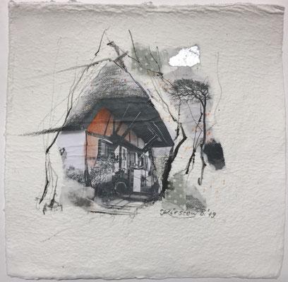 Dornenhaus Ahrenshoop/Darß II, Collage auf handgeschöpftem Hadernbütten, Aquarell, 22 x 22 cm, 2019