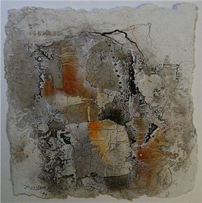 o.T., Baumaterial, Marmormehl auf Papier, 22 x 22 cm, 2014, verkauft