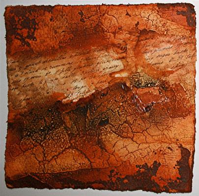 Geheime Botschaft I, Marmormehl, Öl auf Bütten, 20 x 20 cm. 2012, Preis auf Anfrage