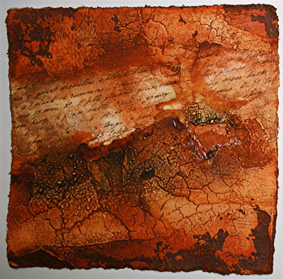 Geheime Botschaft I, Marmormehl, Öl auf Bütten, 20 x 20 cm. 2012, verkauft