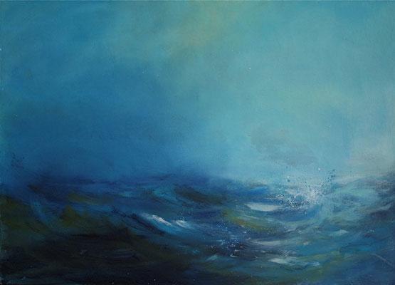 Blaue Brandung I, Acryl auf Malplatte, 60 x 80 cm, 2009, verkauft