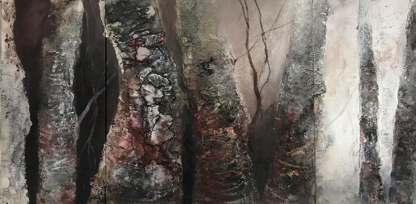 Baumlandschaft, Marmormehl, Sumpfkalk, Acryl, Bitumen, Pigmente, Wachs, 160 x 80 cm /Triptychon), 2019, Preis auf Anfrage