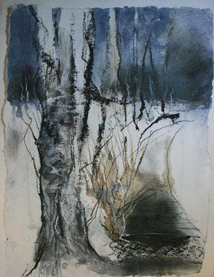 MaRah IX - Birken im Februar, Acrylmischtechnik auf Papier, 50 x 69 cm, 2013, Preis auf Anfrage