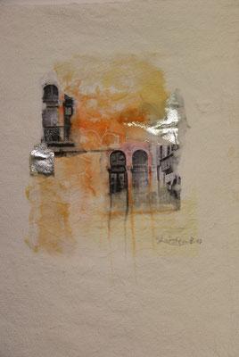 Venezia 4, Collage auf handgeschöpftem Hadernbütten, Aquarell, 21 x 30 cm, 2017, Preis auf Anfrage