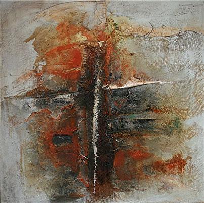 Orange über Kreuz, Marmormehl, Jute auf Leinwand, 80 x 80 cm, Preis auf Anfrage