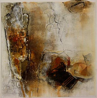 Hommage an Hermann Hesse, Collage, Marmormehl, Kohle, auf Malplatte 30 x 30 cm, 2014