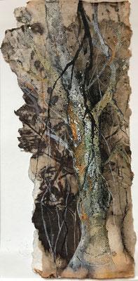 Baumwelten II, Acrylmischtechnik auf Eco-Printing, Aquarellkarton, ca. 8 x 20 cm, 2018, Preis auf Anfrage