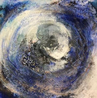 Mondgesang, Kaffee, Baumaterial, Sumpfkalk auf Leinwand, 80 x 80 cm, 2018, Preis auf Anfrage