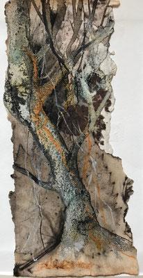 Baumwelten III, Acrylmischtechnik auf Eco-Printing, Aquarellkarton, ca. 8 x 20 cm, 2018, Preis auf Anfrage