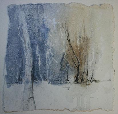 MaRah I - Winterliche Ruhe, Acrylmischtechnik auf Papier, 30 x 30 cm, 2013, Preis auf Anfrage