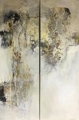 Auf dem Weg zueinander, Acrylmischtechnik (Collage, Bitumen, Asche, Acryl, Tusche, Wachs) auf Leinwand, je 40 x 120 cm, 2018, Preis auf Anfrage