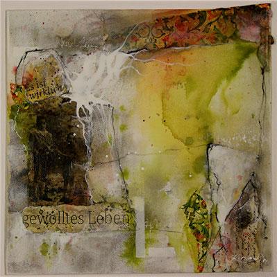 Gewolltes Leben, Collage, Marmormehl, Kohle, auf Malplatte 30 x 30 cm, 2014