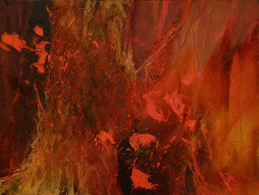 Standhaft, Acrylmischtechnik, Baumrinde auf Leinwand, 60 x 80 cm im Schattenfugenrahmen, 2016, Preis auf Anfrage