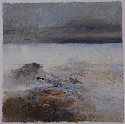 Kleine Irlandlandschaft II, Acrylmischtechnik auf Papier, 22 x 22 cm, 2014, verkauft