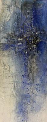 Blaue Stunde I, Marmormehl, Sumpfkalk, Pigmente, Tusche, Wachs, 100 x 40 cm, 2018, Preis auf Anfrage