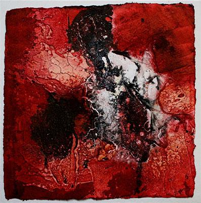 Kleinod in Purpurrot II, Marmormehl, handgeschöpftes Papier, Tusche auf Bütten, 20 x 20 cm, 2012, verkauft