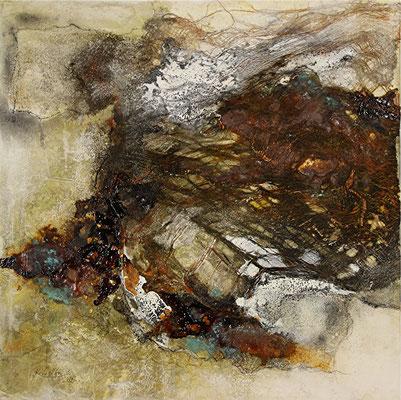 Windflüchter, Marmormehl, Rinde auf Leinwand, 50 x 50 cm, 2014, Preis auf Anfrage
