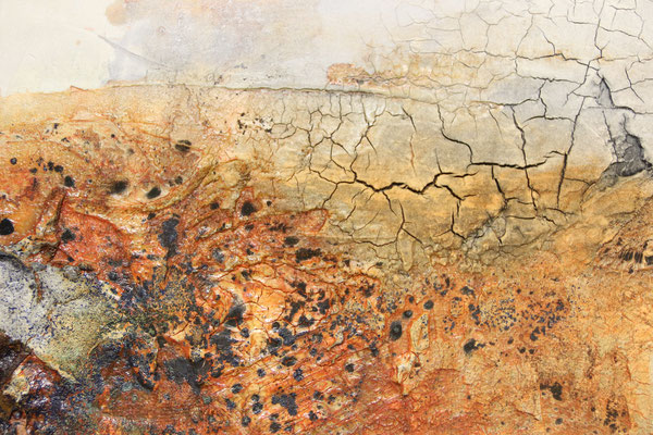 Lebensräume (Ausschnitt), Marmormehl, Gaze auf Leinwand, 100 x 40 cm, 2016