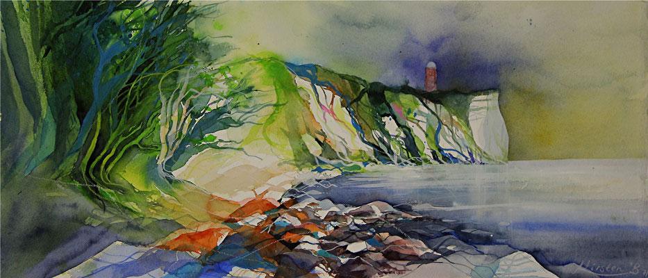 Küste bei Vitt mit Blick zum Kap Arkona, Rügen, Aquarell auf Hadernbütten, 56 x 25,5 cm, 2014, verkauft