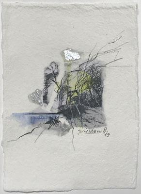 Darßer Weststrand II, Collage auf handgeschöpftem Hadernbütten, Aquarell, 15 x 21 cm, 2019
