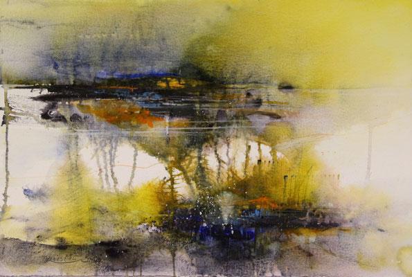 Imagination einer Landschaft I, Aquarell auf Hadernbütten, 38 x 56 cm, 2014, Preis auf Anfrage