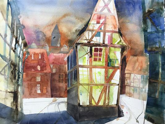 Finkenherd, Quedlinburg, Aquarell auf Hadernbütten, 76 x 56 cm, 2019, Preis auf Anfrage