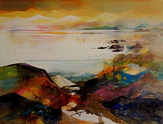 Küstenlandschaft bei Dingle I, Aquarell auf Hadernbütten, 38 x 56 cm, 2014, Preis auf Anfrage