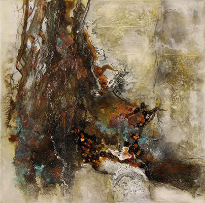 Standhaft, Marmormehl, Rinde auf Leinwand, 50 x 50 cm, 2014, Preis auf Anfrage