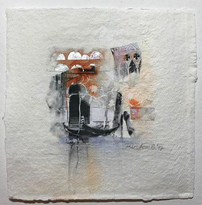Venezia 6, Collage auf handgeschöpftem Hadernbütten, Aquarell, 22 x 22 cm, 2017, Preis auf Anfrage