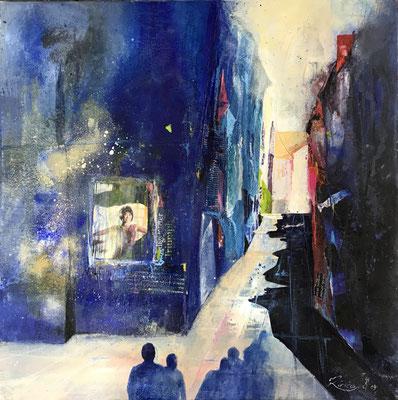 Burano blau, Mixed Media auf Leinwand 80 x 80 cm, 2019, Preis auf Anfrage