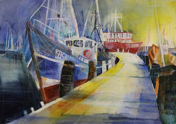 Fischereihafen Sassnitz, SAS 71, Aquarell auf Hadernbütten 77 x 54 cm, 2014, Preis auf Anfrage