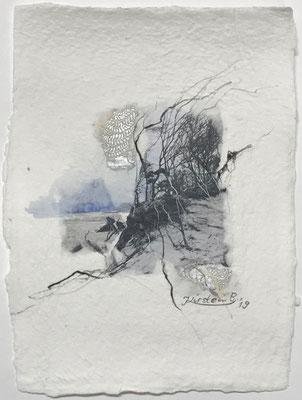 Darßer Weststrand III, Collage auf handgeschöpftem Hadernbütten, Aquarell, 15 x 21 cm, 2019