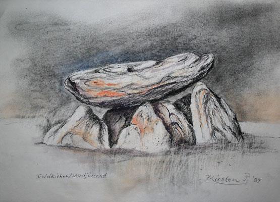Trollkirken, Nordjütland, aus dem Zyklus Spurensuche im Norden, Kohle aquarelliert, 2009